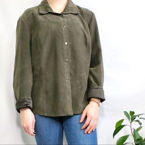 Soft Works Green Suede Button Up Shirt